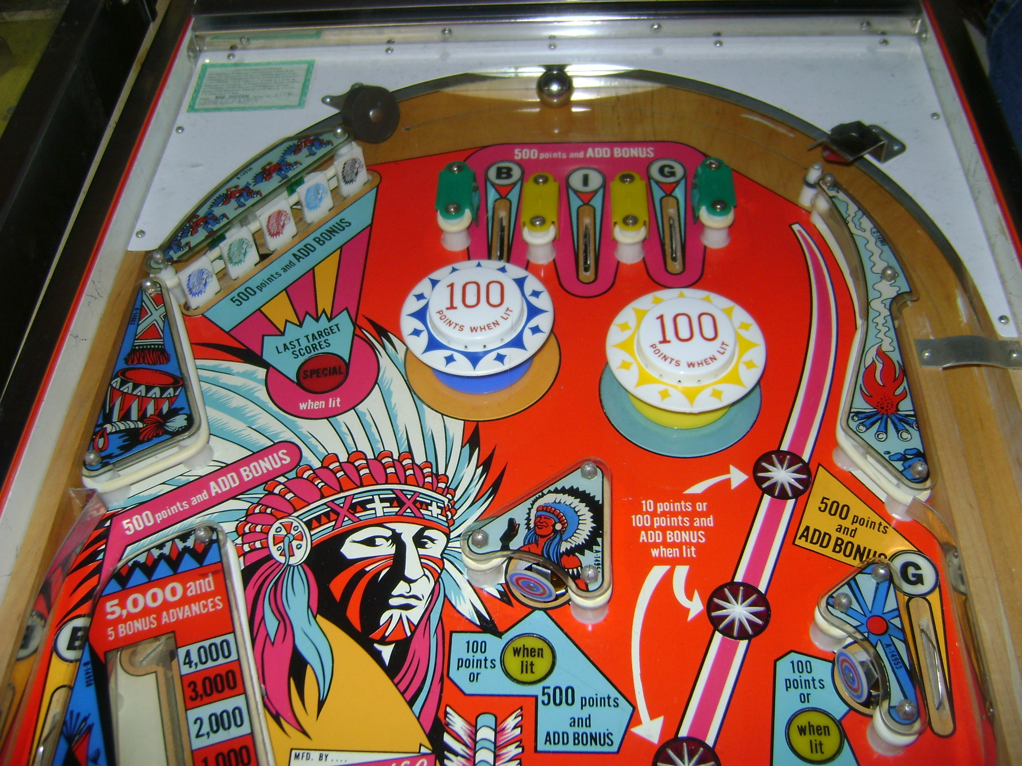 big indian pinball machine for sale